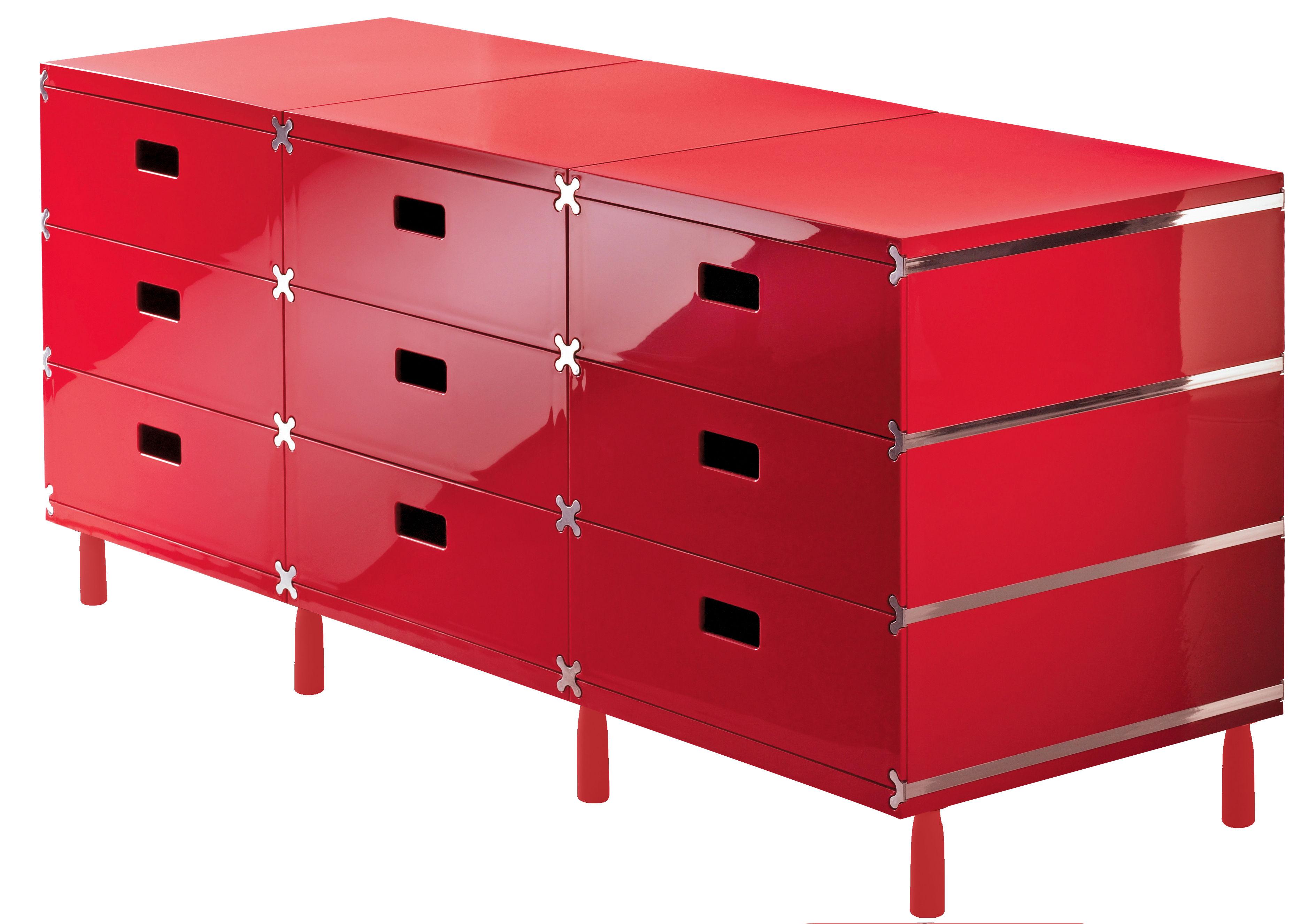 Mobilier - Mobilier Ados - Rangement Plus Unit / 9 tiroirs sur patins - Magis - Rouge - ABS
