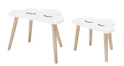 Möbel - Couchtische - Nuage Satz-Tische / 2er-Set - Bloomingville - Weiß & holzfarben - lackierte Holzfaserplatte, Pin massif