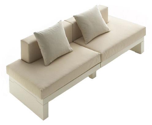 Möbel - Sofas - Bellini Hour Sofa ohne Armlehne - Serralunga - Gestell elfenbeinfarben / Kissen cremefarben - Gewebe, Polyäthylen