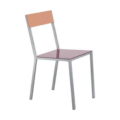 Möbel - Stühle  - Alu Stuhl - valerie objects - Sitzfläche weinrot / Rückenlehne rosa - Aluminium