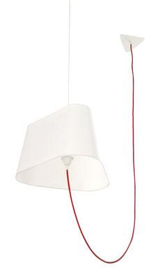 Suspension Grand Nuage L 43 cm / Version déportée - Designheure blanc,rouge en tissu