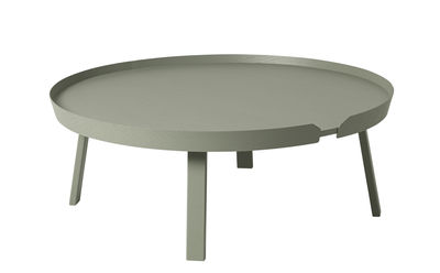 Mobilier - Tables basses - Table basse Around XL / Ø 95 x H 36 cm - Muuto - Vert ancien - Frêne teinté