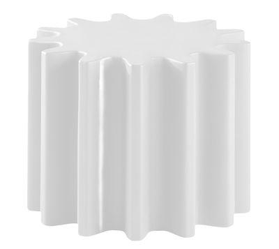 Table basse Gear / Pouf - Version laquée - Ø 55 x H 43 cm - Slide blanc laqué en matière plastique