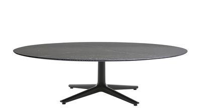 Table basse Multiplo indoor/outdoor - Grès effet marbre / Ø 118 cm - Kartell noir en céramique/pierre