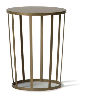 Mobilier - Tables basses - Table d'appoint Hollo / Tabouret -  Ø 35 x H 44 cm - Petite Friture - Or mat - Acier inoxydable