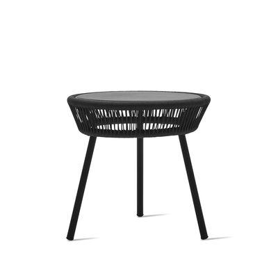 Mobilier - Tables basses - Table d'appoint Loop / Cordage polyéthylène tissé main - Vincent Sheppard - Noir - Aluminium thermolaqué, Fibre polyéthylène