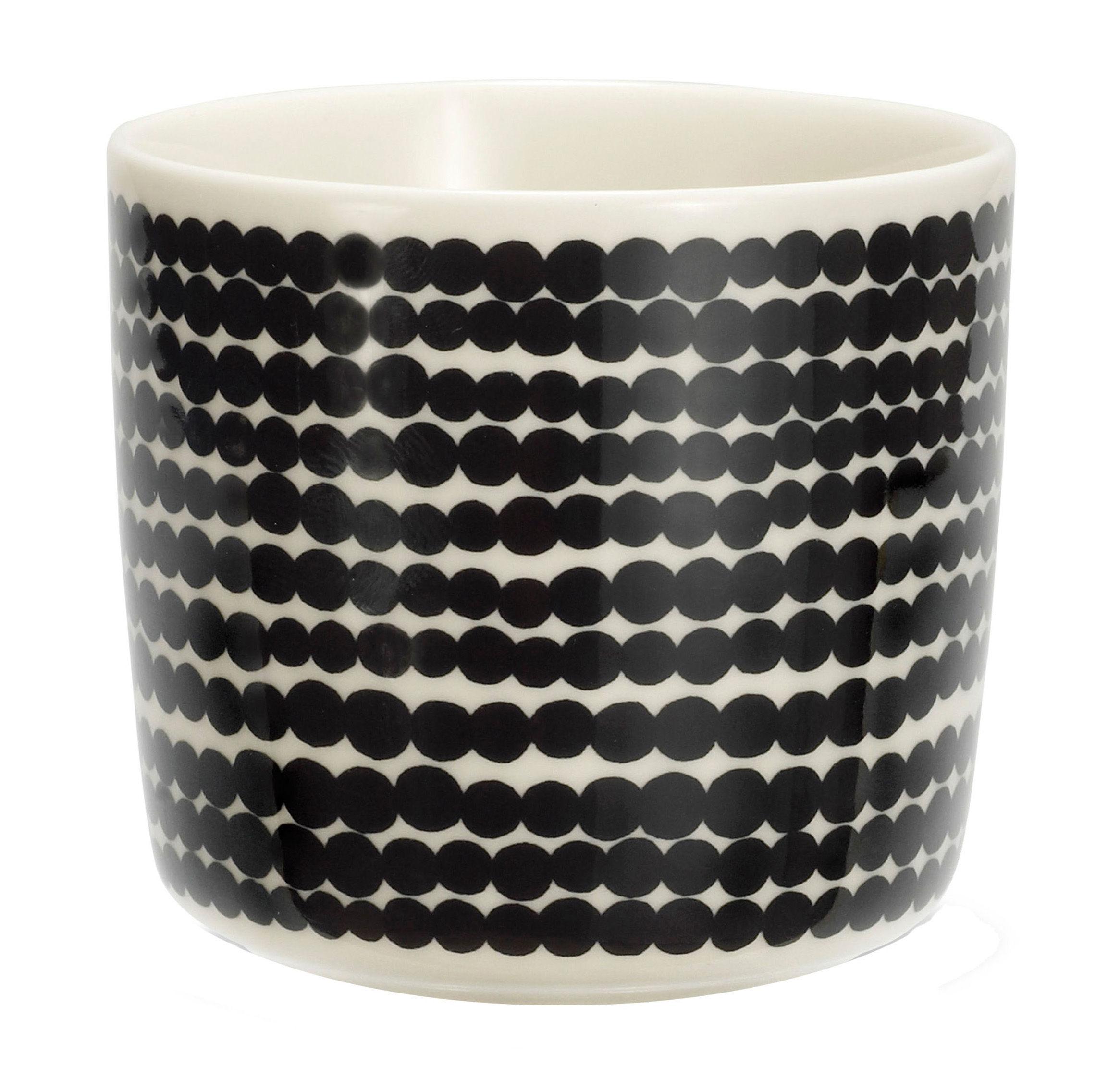 Arts de la table - Tasses et mugs - Tasse à café Siirtolapuutarha / Sans anse - Marimekko - Räsymatto / Noir & blanc - Porcelaine émaillée
