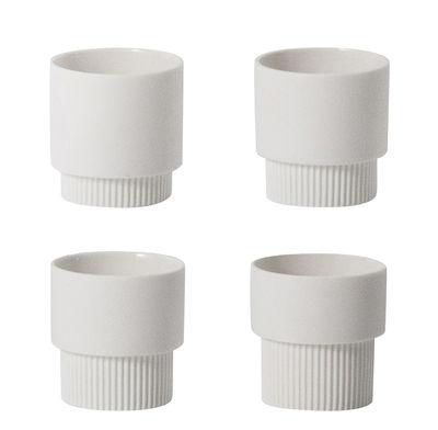 Arts de la table - Tasses et mugs - Tasse à espresso Groove / Set de 4 - H 5 cm - Ferm Living - Blanc - Porcelaine