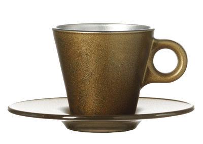 Tasse à espresso Ooh ! Magico et sa soucoupe - Leonardo or métallisé en verre