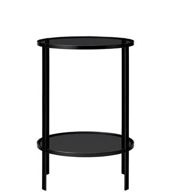 Arredamento - Tavolini  - Tavolino d'appoggio Fumi - / Ø 40 x H 58 cm di AYTM - Nero - Ferro laccato, Vetro temprato