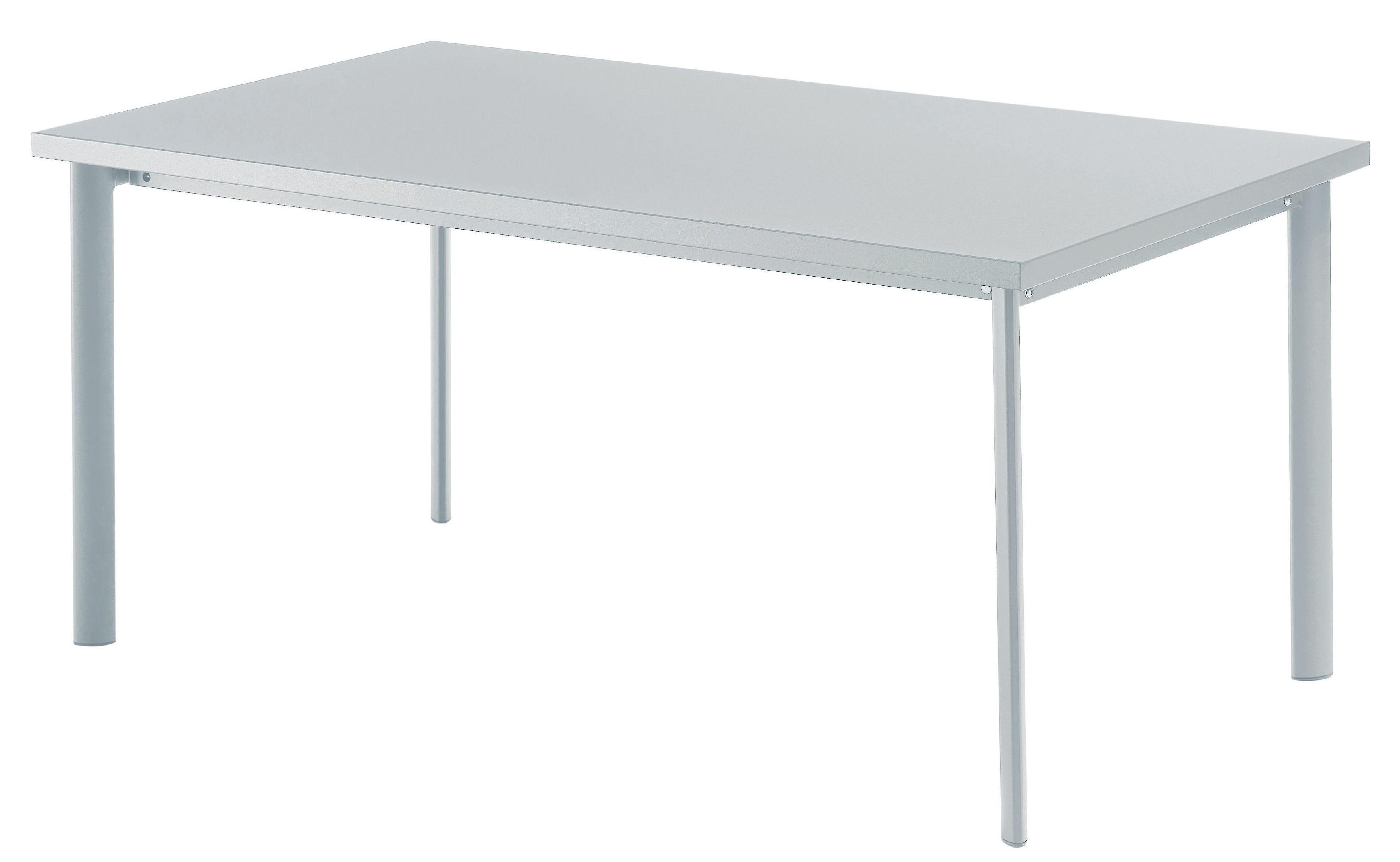 Outdoor - Tavoli  - Tavolo rettangolare Star - / 90 x 160 cm di Emu - Alluminio brillante - Acciaio verniciato, Inox, Lamiera galvanizzata