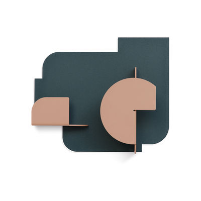 Furniture - Coat Racks & Pegs - Urba 04 Wall coat rack - / 2 hooks by Presse citron - Green & nude pink - Lacquered steel