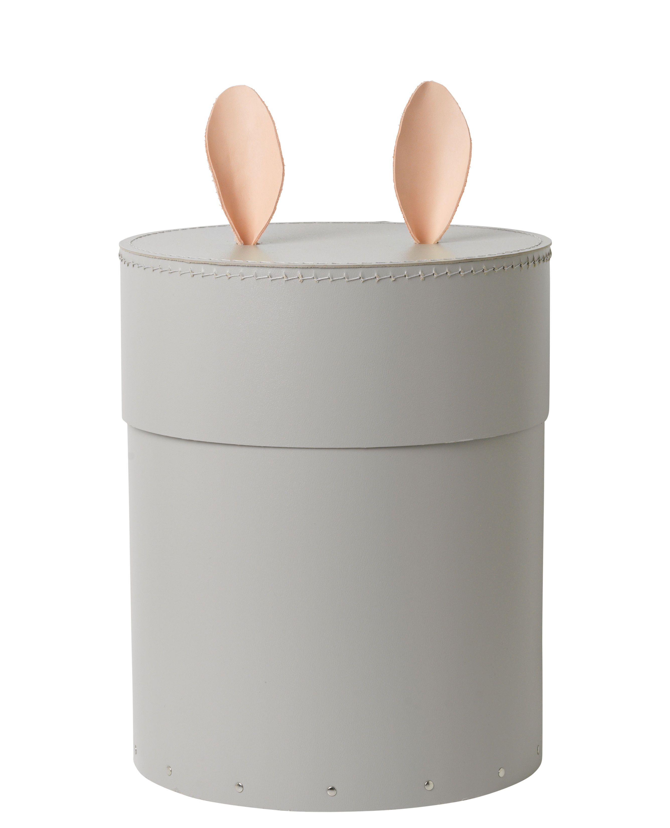 Furniture - Kids Furniture - Rabbit Box - / Ø 30 x H 35 cm by Ferm Living - Gris / Cuir naturel - Cardboard, Leather