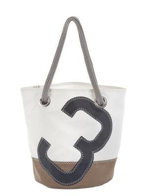 Accessoires - Sacs, trousses, porte-monnaie... - Cabas Diego / Dacron® - Voile bateau recyclée - 727 Sailbags  - Beige & blanc / Chiffre gris - Tissu acrylique, Voile Dacron®