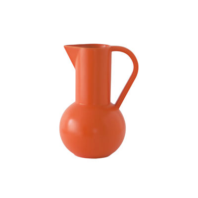 Tableware - Water Carafes & Wine Decanters - Strøm Small Carafe - / H 20 cm - Ceramic / Hand-made by raawii - Vibrant orange - Ceramic
