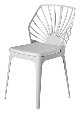 Furniture - Chairs - Sunrise Chair - Metal / With cushion by Driade - White - With cushion - Fabric, Lacquered aluminium