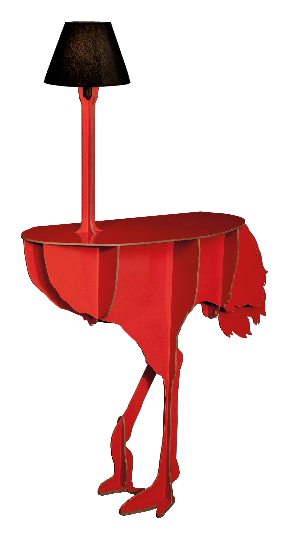 Arredamento - Mobili luminosi - Console: Diva Lucia - / Lampada di Ibride - Rosso brillante / Abat-jour colore nero - Nylon, Stratificato compatto