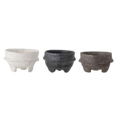 Déco - Centres de table et vide-poches - Coupe / Set de 3 - Papier mâché recyclé / Fait main - Bloomingville - Blanc, noir & bronze -  Papier mâché recyclé