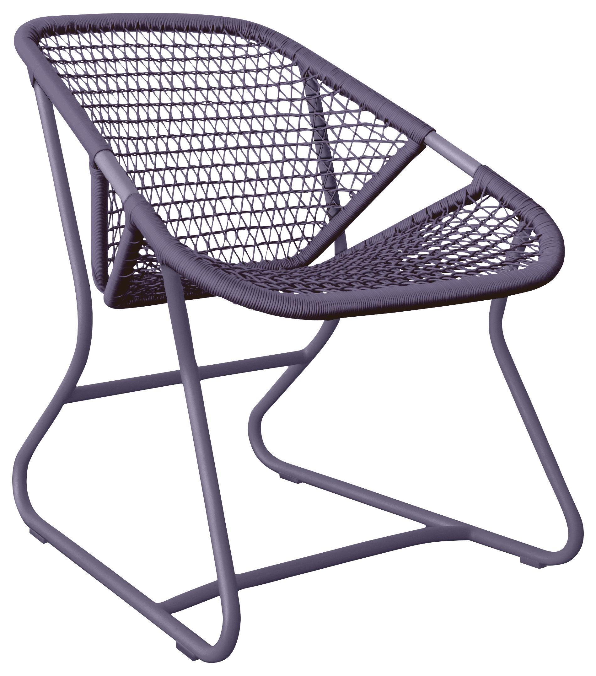 Mobilier - Fauteuils - Fauteuil bas Sixties / Assise souple plastique tressé - Fermob - Prune - Aluminium, Résine polymère