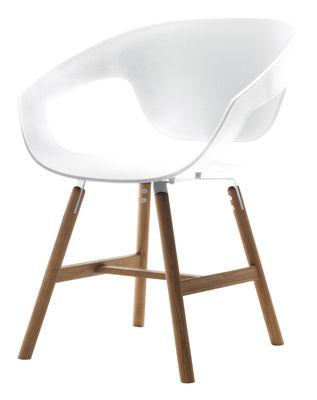 Mobilier - Chaises, fauteuils de salle à manger - Fauteuil Vad wood / Plastique & pieds bois - Casamania - Blanc - Bois massif, Polypropylène