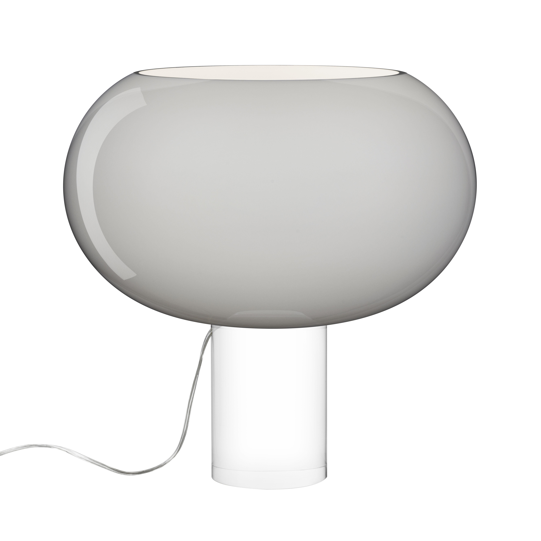 Illuminazione - Lampade da tavolo - Lampada da tavolo Buds 2 / Vetro artigianale - Ø 41 x H 42 cm - Foscarini - Grigio / Piede trasparente - PMMA, vetro soffiato