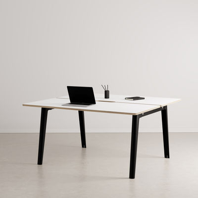 Furniture - Office Furniture - New Modern open space desk - / 2-seat XL - 150 x 140 cm / Laminate by TIPTOE - Graphite black - Powder coated steel, Stratified