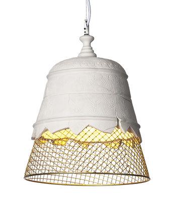 Lighting - Pendant Lighting - Domenica Pendant - Plaster - Ø 35 x H 39 cm by Karman - White / Gold - Metal, Plaster
