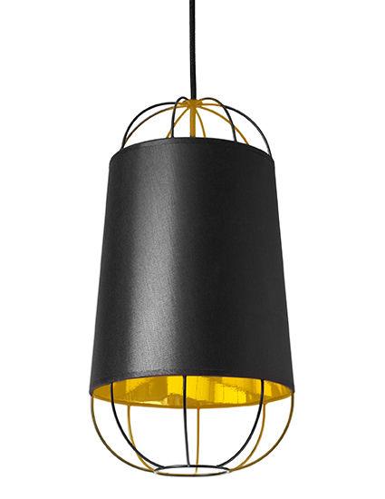 Lighting - Pendant Lighting - Lanterna Small Pendant by Petite Friture - Black / Gold - Cotton, Lacquered steel, PVC