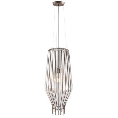 Lighting - Pendant Lighting - Saya Pendant - / Ø 31 x H 75 cm - / Glass & metal by Fabbian - Transparent / Brown metal structure - Blown glass, Metal