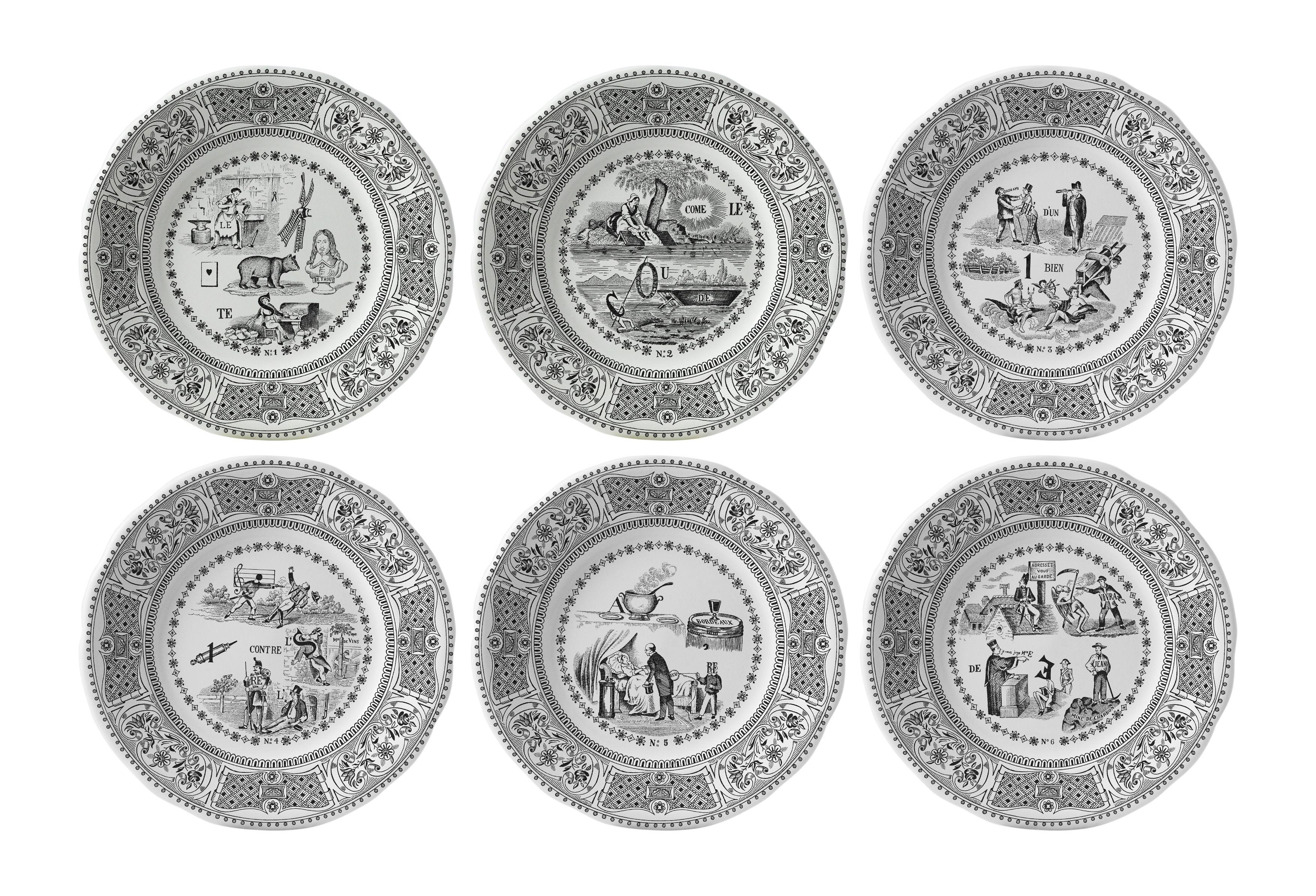 Tavola - Piatti  - Piatto da dessert Les Rébus - / Set da 6 - Ø 20 cm di GIEN - Nero & bianco - Faïence fine de Gien