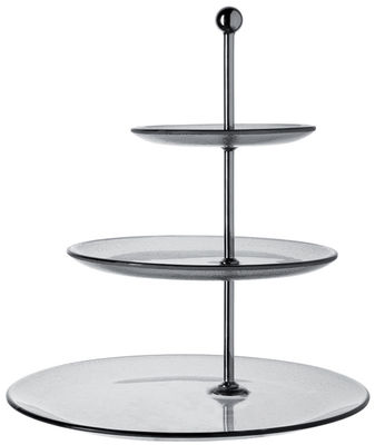 Arts de la table - Plats - Plateau à gâteau Cremona - 3 étages - Leonardo - Fumé / 3 étages - Verre