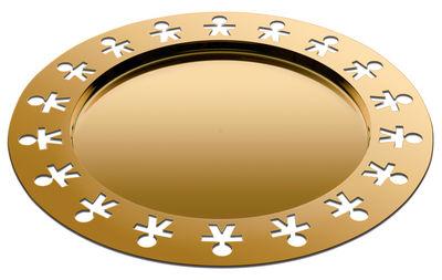 Arts de la table - Plateaux - Plateau Girotondo Or 24 carats / Ø 40 cm -Edition limitée & numerotée - Alessi - Or 24 carats - Acier inoxydable plaqué or 24 carats