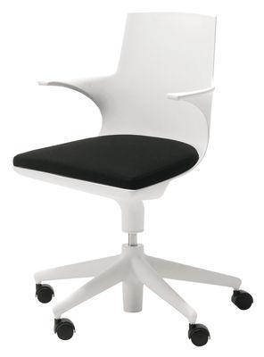 Arredamento - Mobili Ados  - Poltrona a rotelle Spoon Chair di Kartell - Bianco/cuscino nero - Polipropilene