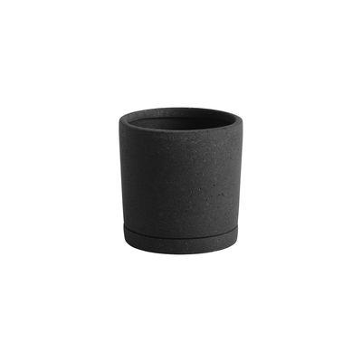 Déco - Pots et plantes - Pot de fleurs Medium / Ø 14 x H 14 cm - Polystone / Soucoupe intégrée - Hay - Noir - Polystone