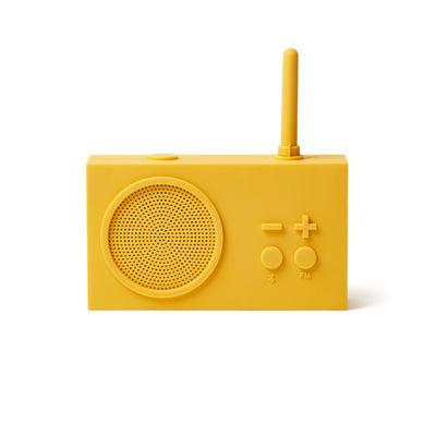 Accessoires - Réveils et radios - Radio sans fil Tykho 3 / Enceinte Bluetooth - Lexon - Jaune - Gomme siliconée