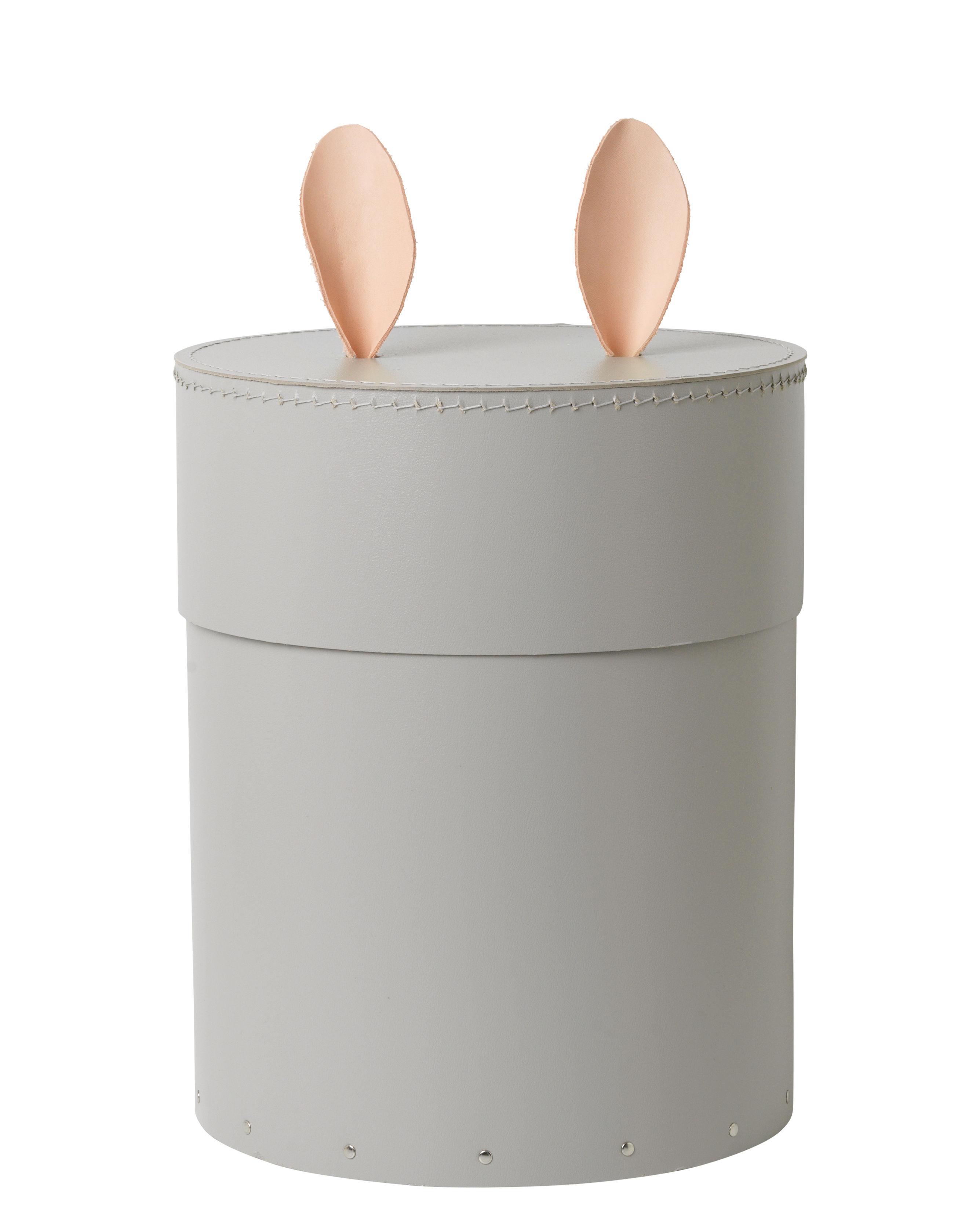 Möbel - Möbel für Kinder - Rabbit Schachtel / Ø 30 cm x H 35 cm - Ferm Living - Grau / Leder natur - Hartpappe, Leder