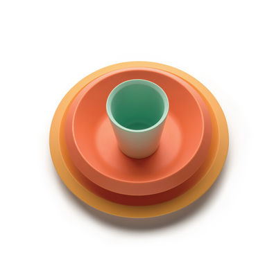 Interni - Per bambini - Set stoviglie per bambini Giro Kids - / 3 pezzi - Resina melaminica di Alessi - Toni arancioni - Melamina
