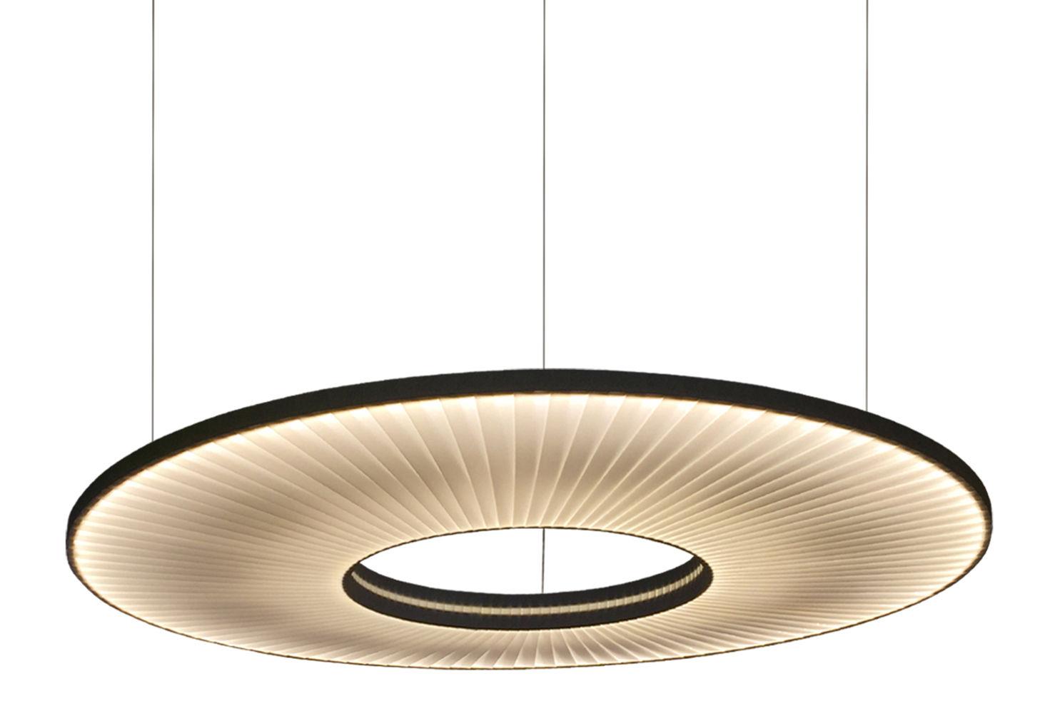 Illuminazione - Lampadari - Sospensione Iris Orizzontale LED / Ø 60 cm - Tessuto & illuminazione recto-verso - Dix Heures Dix - Ø 60 cm / Tessuto Bianco - Metallo, Tessuto
