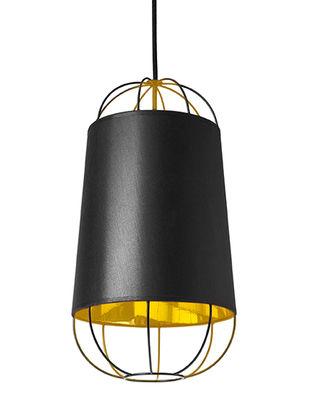 Illuminazione - Lampadari - Sospensione Lanterna Small - / Ø 22 x H 42 cm di Petite Friture - Noir / Or - Acciaio laccato, Cotone, PVC