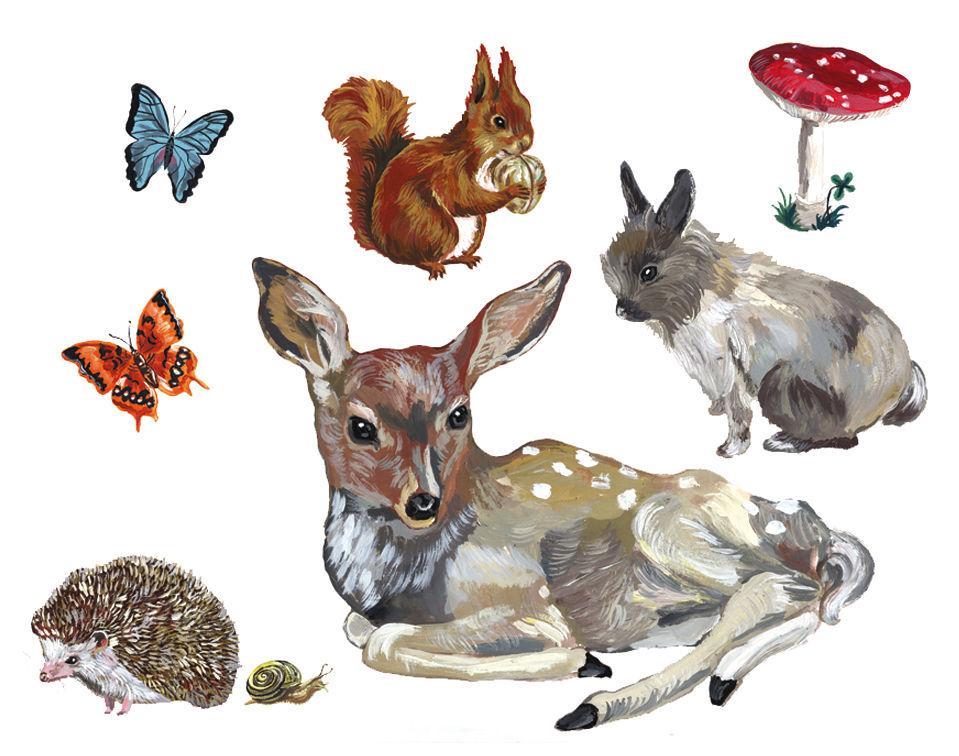 Déco - Pour les enfants - Sticker Les animaux 1 / Lot de 8 stickers - Domestic - Multicolore - 8 stickers - Vinyl
