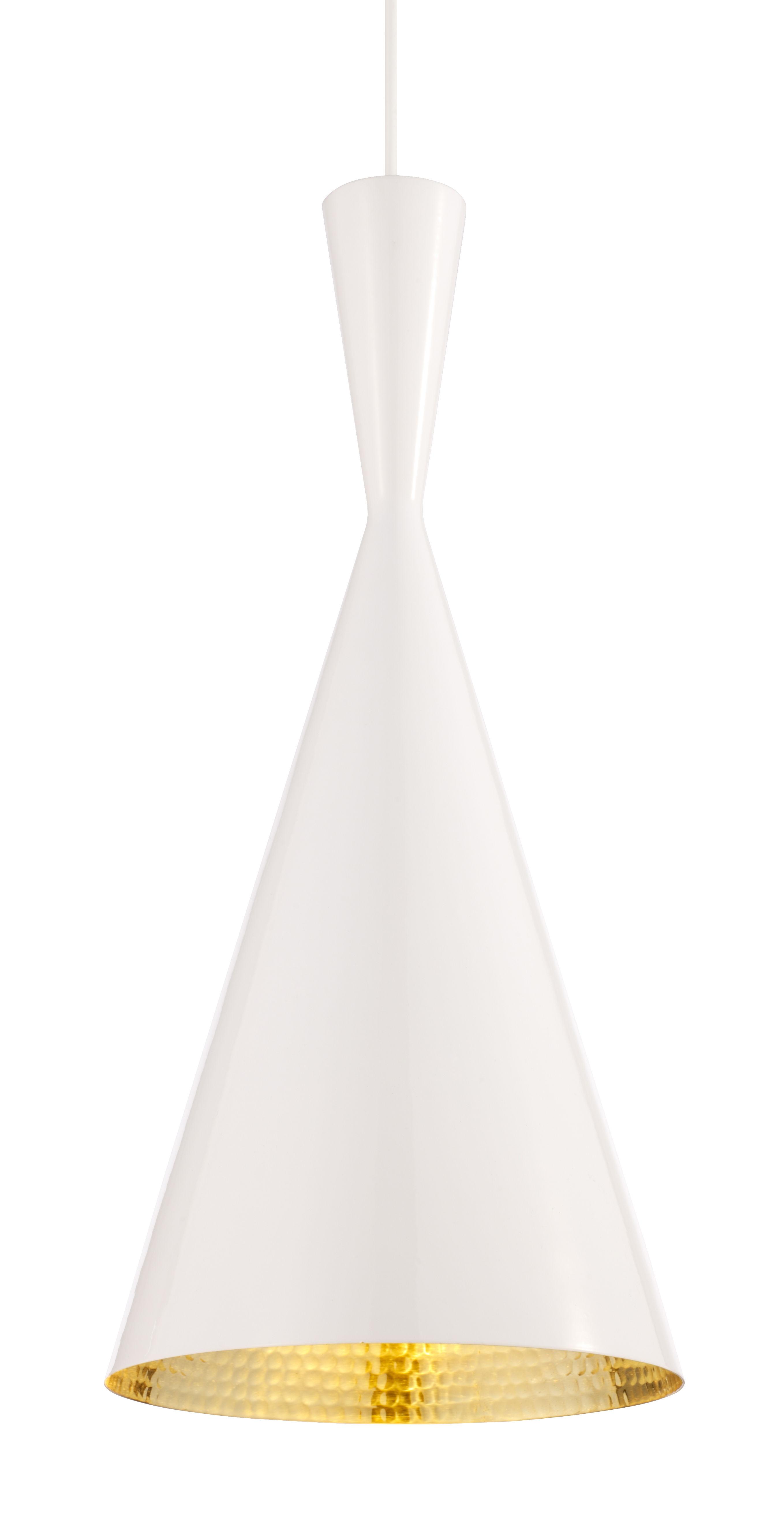 Luminaire - Suspensions - Suspension Beat Tall / Ø 19 cm x H 42 cm - Tom Dixon - Blanc / intérieur doré - Laiton