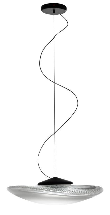 Luminaire - Suspensions - Suspension Loop LED / Verre - Ø 45 cm - Fabbian - Transparent - Métal, Verre soufflé