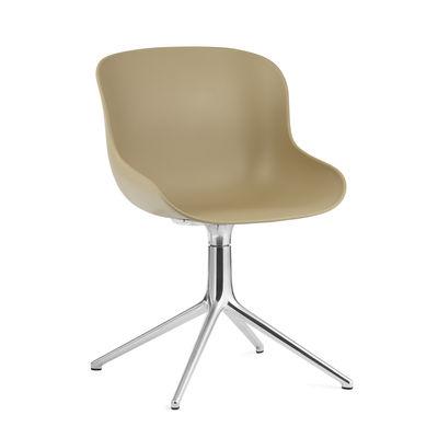 Furniture - Office Chairs - Hyg Swivel armchair - / Polypropylene by Normann Copenhagen - Sand / Aluminium base - Polypropylene, Steel