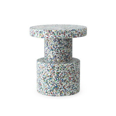 Mobilier - Tables basses - Table d'appoint Bit / Table d'appoint - Plastique 100% recyclé / Ø 36 cm - Normann Copenhagen - Blanc / Multicolore - Polyéthylène recyclé