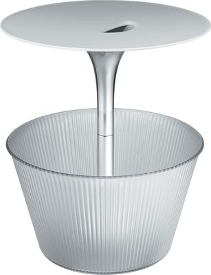 Table d'appoint Pick-Up / Avec porte-revues - Ø 43 x H 49 cm - Alessi blanc,transparent en métal