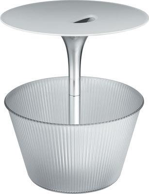 Table d'appoint Pick-Up / Avec porte-revues - Ø 43 x H 49 cm - Alessi blanc,transparent en métal