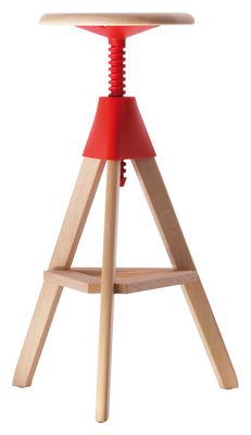 Tabouret haut réglable Tom / Pivotant - Bois & plastique - Magis rouge/bois naturel en bois