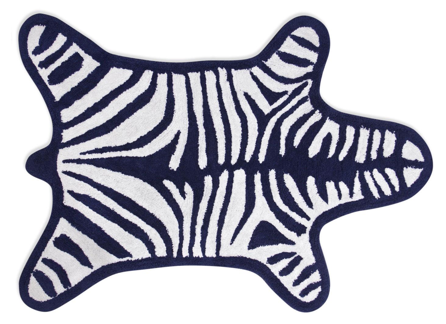 Tappeto sala da bagno zebra di jonathan adler bianco blu for Sala da bagno design