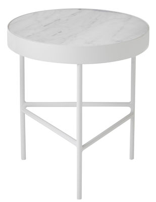 Arredamento - Tavolini  - Tavolino d'appoggio Marble Medium - / Ø 40 x H 45 cm di Ferm Living - Marmo bianco / Gamba bianca - Marmo, metallo verniciato