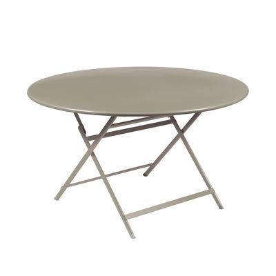 Outdoor - Tavoli  - Tavolo pieghevole Caractère - / Ø 128 cm / 7 persone di Fermob - Noce Moscata - Acciaio verniciato